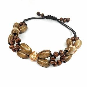 3/$15 • Wood & Resin Beaded Slip Knot Bracelet